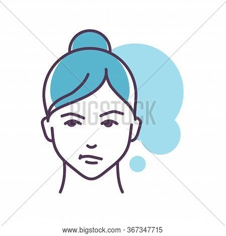 Human Feeling Sympathy Line Color Icon. Face Of A Young Girl Depicting Emotion Sketch Element. Cute