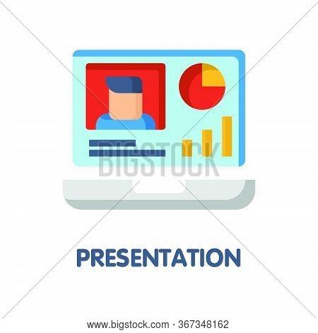 Online Presentation Flat Icon Style Design Illustration On White Background
