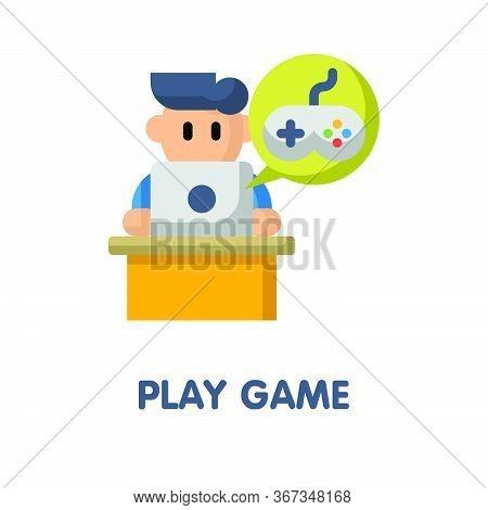 Play Game Flat Icon Style Design Illustration On White Background