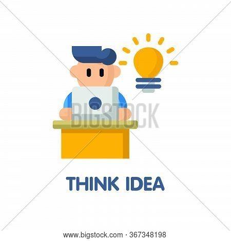 Think Idea  Flat Icon Style Design Illustration On White Background
