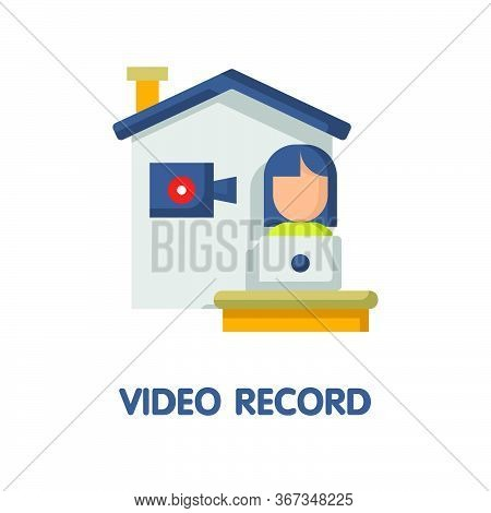 Video Record  Flat Icon Style Design Illustration On White Background