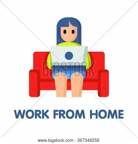 Work From Home On Couch Flat Icon Style Design Illustration On White Background