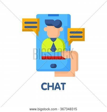 Chat Online Flat Icon Style Design Illustration On White Background