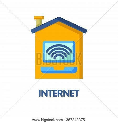 Internet At Home Flat Icon Style Design Illustration On White Background