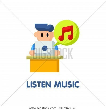 Listen Music In Relax Time Flat Icon Style Design Illustration On White Background