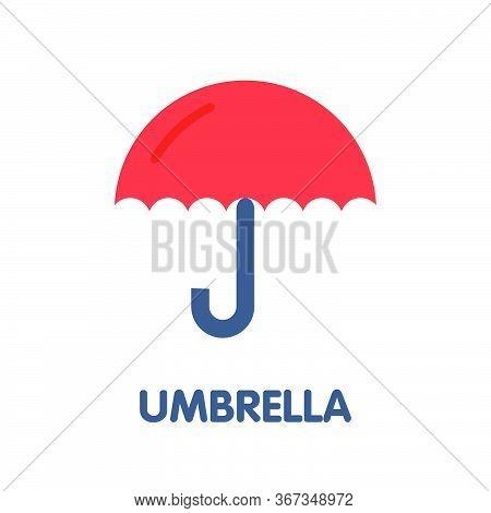 Umbrella Flat Icon Design Style Illustration On White Background