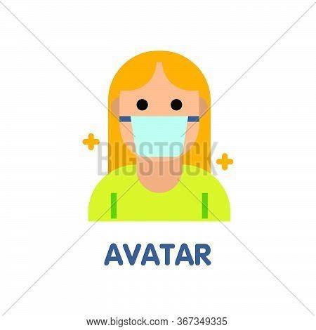 Avatar Woman  Flat Icon Style Design Illustration On White Background