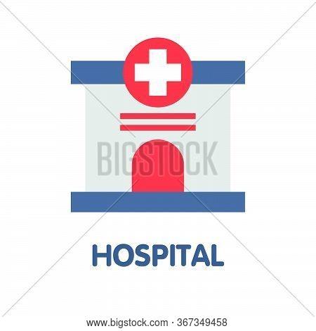 Hospital Flat Icon Style Design Illustration On White Background