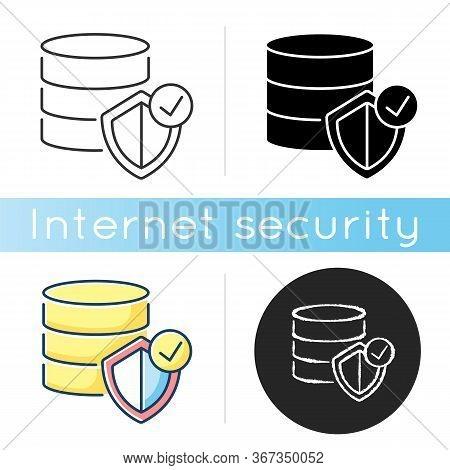 Datacenter Security Icon. Digital Encryption. Big Data Protection. Web Hosting Safety. Information S