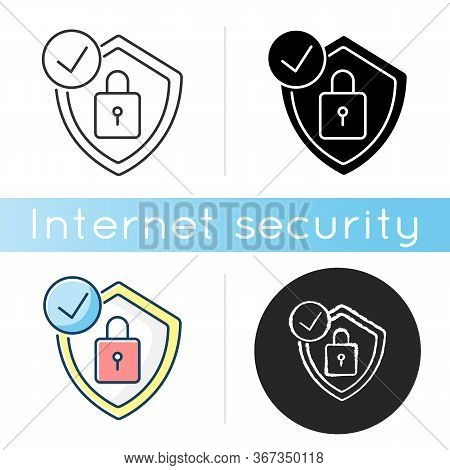 Antivirus Icon. Digital Encryption. Personal Data Protection. Padlock And Shield. Cybersecurity Tech