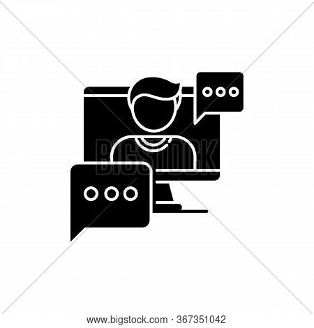 Interview Video Black Glyph Icon. Journalist Footage. Video Call Conversation. Live Online Conferenc