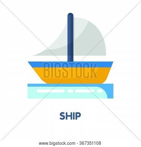 Ship On The Sea Flat Icon Design
