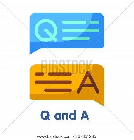 Faq, Q And A Flat Style Icon Design  Illustration On White Background