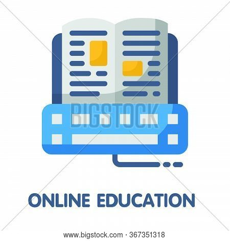 Icon Online Education In Flat Style Design  Illustration On White Background