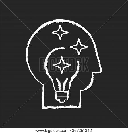 Idea Generation Chalk White Icon On Black Background. Insight While Brainstorming. Human Head With I