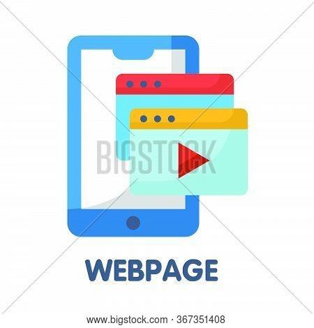 Webpage Flat Style Icon Design  Illustration On White Background