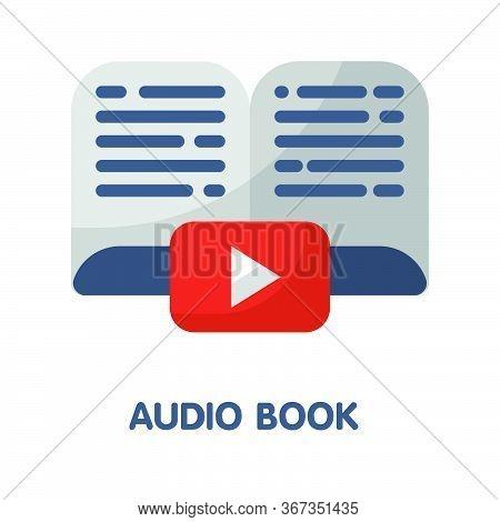 Audio Book  Flat Style Icon Design  Illustration On White Background