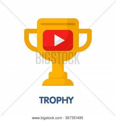 Trophy  Flat Style Icon Design  Illustration On White Background