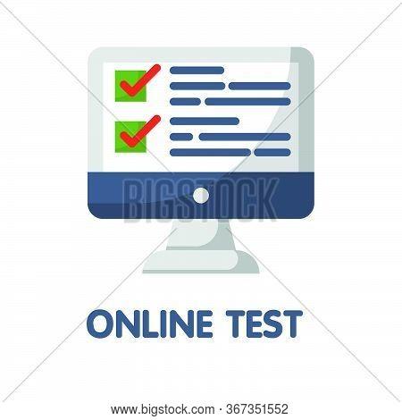 Online Test Learning  Flat Style Icon Design  Illustration On White Background