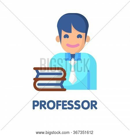 Icon Professor In Flat Style Design  Illustration On White Background