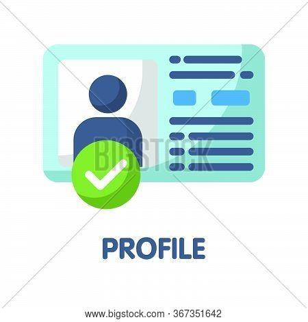 Icon Profile In Flat Style Design  Illustration On White Background