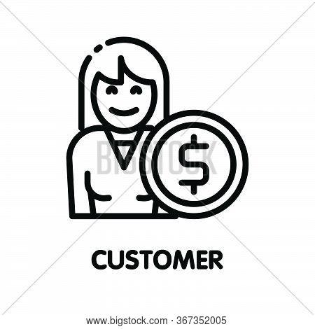 Icon Customer Girl Outline Style Icon Design  Illustration On White Background