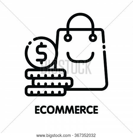Icon Ecommerce Business Outline Style Icon Design  Illustration On White Background