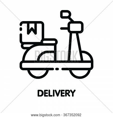 Icon Motorcycle Delivery  Outline Style Icon Design  Illustration On White Background