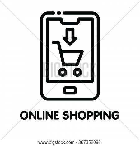 Icon Online Shopping  Outline Style Icon Design  Illustration On White Background