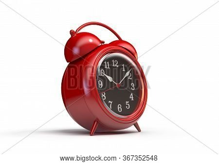 A Red Vintage Metal Desk Clock On An Isolated White Studio Background - 3d Render