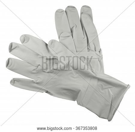 Pair Of Medical Rubber Gloves, Isolated On White Background. Clipping Path Included.