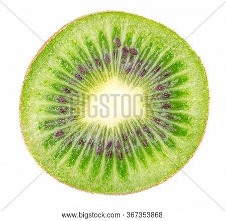 Kiwi Slice Isolated On White Background. Ripe And Delicious Kiwi Cut Close Up. Gourmet Chopped Kiwi,