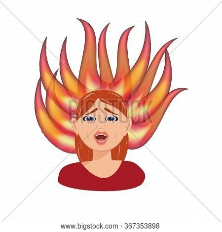 Flat Vector Character Illustration. Conceptual Image Of Emotional Burnout. Burning Brain Of Tired Wo