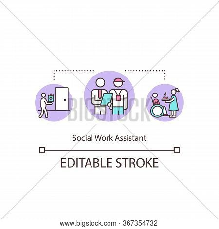 Social Worker Assistant Concept Icon. Nurse For Elderly People. Job In Welfare. Mentor Training Volu
