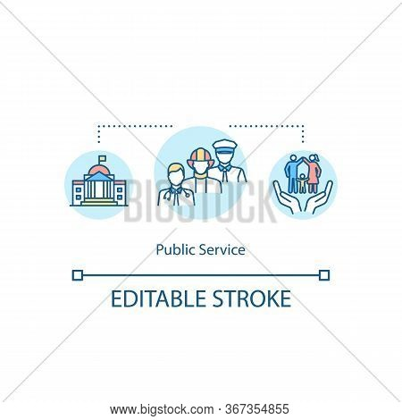 Public Service Concept Icon. Government Employee For Community Support. People Welfare Aid. Social W