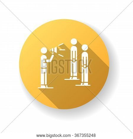 Public Broadcasting Yellow Flat Design Long Shadow Glyph Icon. Mass Media Presenter With Megaphone.