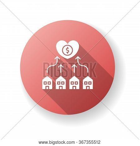 Neighborhood Development Red Flat Design Long Shadow Glyph Icon. Suburban Community Union. Financial