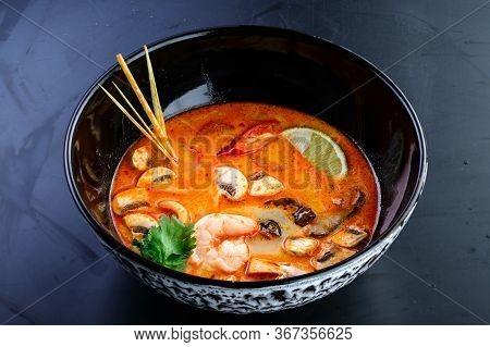 Thai Food Tom Yum Goong, Classic Tom Yam Soup Isolated