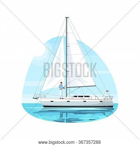 Fisherman On Regatta Semi Flat Vector Illustration. Man Fishing With Rod On Luxury Ship. Person On B