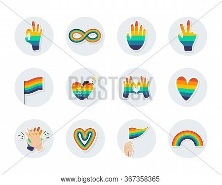 Round Icons With Lgbtq Symbols. Icons For Highlights. Round Templates For Social Networks On The Top