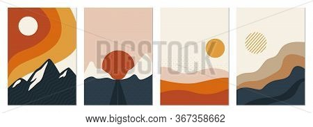Collection Of Rectangular Abstract Landscapes. Sun, Mountains, Waves. Japanese Style. Modern Layouts