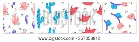 A Set Of Colorful Abstract Modern Fashion Vector Seamless Patterns. Hands, Flowers, Cactuses, Birds.