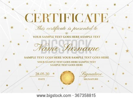 Certificate Template With Golden Stars ,line Pattern And Gold Emblem. White Holiday Background Usefu
