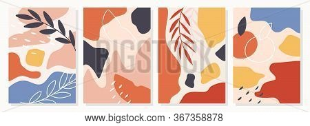 Set Of Posters With Elements Of Fruits, Plants And Abstract Shapes, Modern Graphic Design. Perfect F