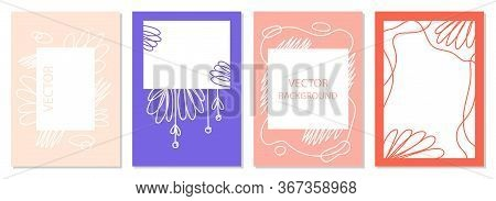 A Set Of Posters With Abstract Figures And Doodles. Modern Graphic Design. Perfect For Social Media,