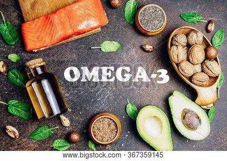 Animal And Vegetable Sources Of Omega-3 Acids As Salmon, Avocado, Linseed, Nuts, Almonds, Chia Seeds
