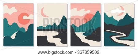 A Set Of Rectangular Abstract Landscapes. Sun, Moon, Mountains, Clouds, Rivers, Plants. Asian Design