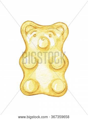 One Yellow Marmalade Jelly Bear Candy Isolated On White Background. Watercolor Hand Drawn Illustrati