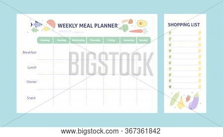 Weekly Meal Planner And Shopping List For Organize. Healthy Meal Plan For Diet And Food. Vector Prin