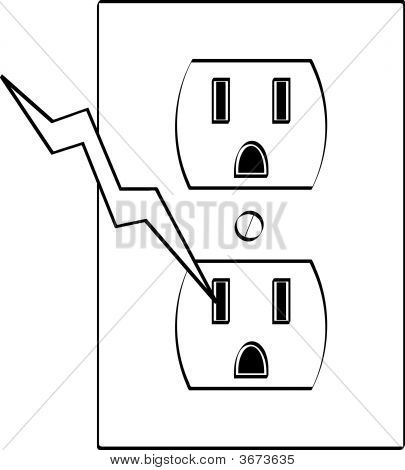 Electrical Outlet With Bolt Of Electricity